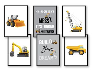WIETRE® 6er Set Bilder Baufahrzeuge Bagger Kran Kinderzimmer Deko   Bild Junge Babyzimmer Poster DIN A4   LKW Baustelle Stapler Walze Auto Fahrzeuge Dekoration - ohne Rahmen