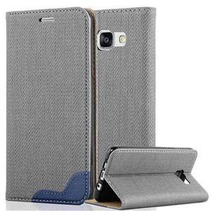 Cadorabo Hülle für Samsung Galaxy A5 2016 (6) - Hülle in GRAU BLAU - Handyhülle in Bast-Optik mit Kartenfach und Standfunktion - Case Cover Schutzhülle Etui Tasche Book Klapp Style