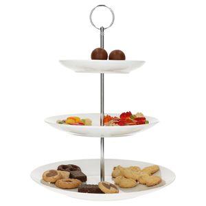 Etagere weiß Porzellan I 3-stöckig Ø 27cm Servierplatten Cupcake-Ständer 3 Etagen