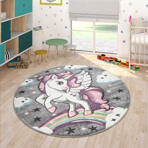 Kinderteppich Bunt Grau Kinderzimmer Regenbogen Design Einhorn Motiv 3-D Look, Grösse:160x230 cm
