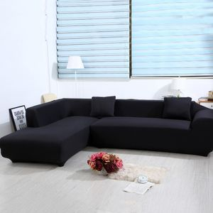 2 pcs 3 Sitzer Sofahussen Sofabezug Stretch elastische Sofahusse Sofa Abdeckung 170-220cm, Schwarz