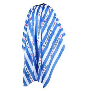 Wasserdicht Frisierumhang Friseursalon Haarschneideumhang, Blau & Weiß Gestreift 15 Friseurhaarschneidekap Multi Style 135X155CM 2