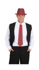 gebundene Krawatte Karo zum Kostüm an Karneval Fasching