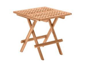 Möbilia Gartentisch quadratisch 50 cm aus Teak Holz | klappbar | B 50 x T 50 x H 50 cm | natur | 11020001 | Serie GARTEN