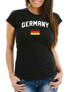 Moonworks® Damen Deutschland Fan-Shirt T-Shirt Fußball WM EM Fan-Trikot Weltmeisterschaft Europameisterschaft Germany schwarz M