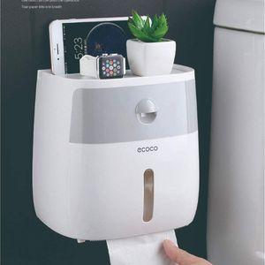 LOZAYI Wandmontage Toilettenpapier-Spender Toilettenpapier-Box Selbst Aufbewahrungsbox mit Schublade staubdichter Papierhalter