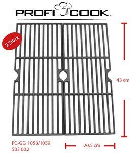 ProfiCook 2 Gußgrillrostset für Gasgrill PC-GG 1058 & 1059 Gusseisen Grillrost