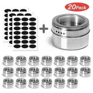 Haoshengli 20-teiliges magnetisches Gewürzdosen-Set für die Küche, Edelstahl-Aufbewahrungsgewürzbehälter mit Sieb- oder Gießfenster- und Gewürzetiketten, Gewürzdosen-Magnetgefäße für den Kühlschrankgrill