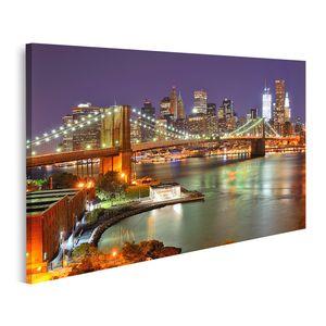 Bild Bilder auf Leinwand Blick auf die Innenstadt von New York City und die Brooklyn Bridge Wandbild Poster Leinwandbild QBJS