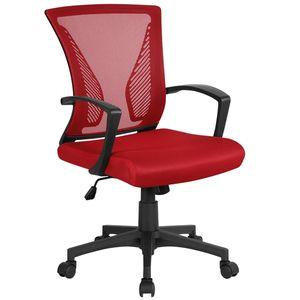 Yaheetech Bürostuhl Schreibtischstuhl ergonomischer Drehstuhl Chefsessel höhenverstellbar Sportsitz Mesh Netz Stuhl  Rot