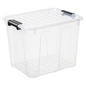 Home Box Aufbewahrungsbehälter mit Deckel Klickverschluss Aufbewahrungsbehälter Box Stapelbar 40L Transparent