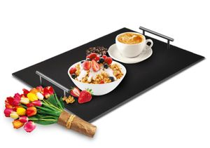 Serviertablett aus Schifer Betttablett Frühstückstablett Tablett Schieferplatte