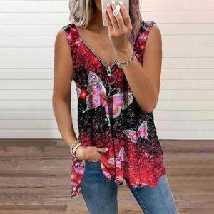 Frauen Farbe Schmetterling Print V-Ausschnitt Reißverschluss y Tank Tops Ärmellose Shirts T-Shirts Größe:S,Farbe:Rot