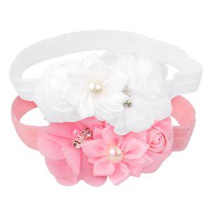 Weiß Rosa Baby Mädchen Bowknot Stirnband Blüten Band Haarbänder Haarschmuck
