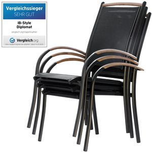 ib style® DIPLOMAT Stapelstühle ALU Teak schwarz Gartenstuhl Gartenmöbel 4x Stapelstuhl