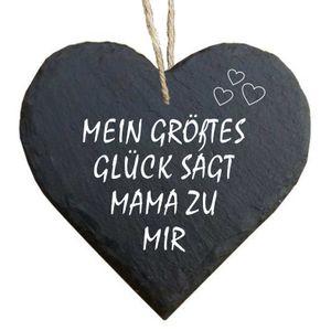 Herz Schieferherz Schiefer Schieferschild 10 x 10 cm Mein größtes Glück sagt Mama zu mir schwarz Dekoschild Wandschild Schild Stein Mama Mutter Kind Muttertag