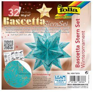 folia Faltblätter Bascetta-Stern 150 x 150 mm 90 g/qm 32 Blatt türkis bedruckt