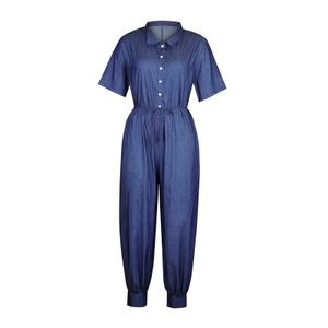 Frauen Plus Size Overalls Lässige Lose Latzhose Strampler Baggy Playsuit Jumpsuit Größe:XXXL,Farbe:Dunkelblau