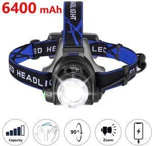 Stirnlampe LED, 6400mAh USB Wiederaufladbare Stirnlampe Kopflampe Leichtgewichts für Laufen Jogging Lila Reparieren mit 2 Stück 18650 Akkus