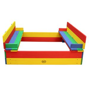 AXI Sandkasten Ella aus Holz mit Deckel | Sand Kasten mit Sitzbank & Abdeckung für Kinder in bunten Farben | 100 x 95 cm