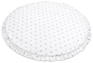 2-seitig Baby Spielmatte Spieldecke Krabbelmatte Krabbeldecke [Graue Sterne] 100% Baumwolle / Rund Ø 90 cm