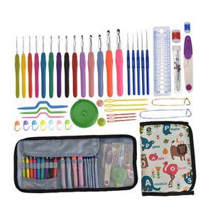 Häkelset 46 Stück Häkelnadel Set Häkelnadeln Bunte Stricken Nadeln mit Strickzubehör und Tragbar Tasche für Strick und Häkeln