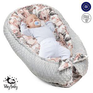 Babynest Nestchen Baby Nest Babynestchen Kokon Kuschelnest für Neugeborene Babybett Liegekissen 90x50 cm Wilde Rose Motiv und grauer Minky