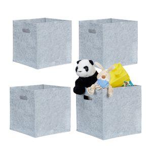 relaxdays 4x Filzkorb grau, Filztasche 30 cm, Aufbewahrungsbox quadratisch, Regalkorb Filz