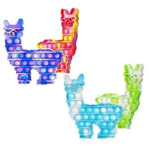 4x Push it Pop Pop up Bubble Alpaka Regenbogen Bunt Sensorisches Beruhigungsspielzeug Anti Stress beruhigend Fidget Toy