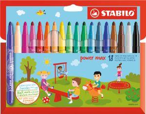 Filzstift - STABILO power max - 18er Pack - mit 18 verschiedenen Farben