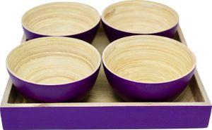 KeMar KitchenwareBambus Tablett | mit 4 Schälchen Lavendel Lila