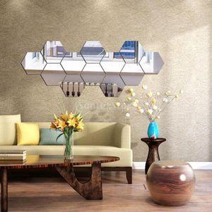 12 stücke hexagon 3d spiegel wandaufkleber selbstklebende kunst dekoration silber Farbe Silber
