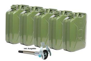 5x Metallkanister 20l Kanister Benzinkanister + 1x Ausgießer flexibel Natooliv