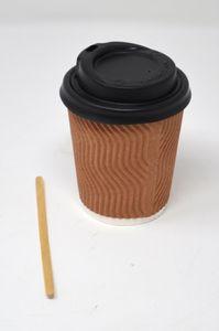 88 Stk. Gewellt Pappbecher Coffee to Go 240 ml 8 oz mit Deckel & Rührstäbchen
