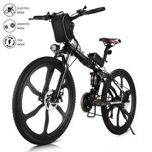 WINICE 26 Zoll E-Trekkingrad Elektrofahrrad E-bike Mountainbike, Faltbares E-MTB Elektrisches Fahrrad mit 36V 8AH Lithium Akku 250W und Shimano 21-Gang Getriebe 50 Meilen,für Damen, Herren, Unisex,Schwarz