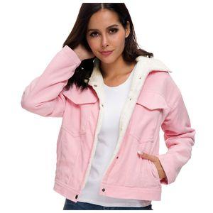 Frauen dicke Winter warme Futter Mäntel Mode Samt Jacken Cord Outwear Größe:M,Farbe:Rosa