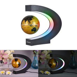 Aibecy Magnetische Schwebender Globus Beleuchtet 3 Zoll C-förmiger Weltkarten Globus mit LED-Farblichtern für die Home Office Schreibtischdekoration Golden