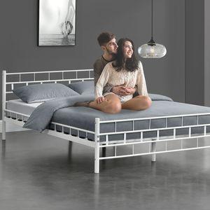 Juskys Metallbett Malta 140 x 200 cm weiß – Bettgestell mit Lattenrost – Bett modern & massiv – große Liegefläche