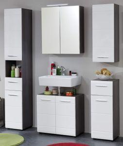 Badmöbel Set 5-teilig in Hochglanz weiß und Sardegna grau Rauchsilber Badezimmer 150 x 182 cm - Trendteam Line 189890503