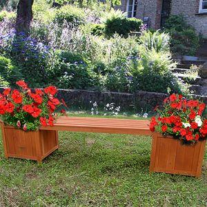 2in1 Gartenbank mit 2 Blumenkästen Holzbank Blumenkasten Holz Garten Bank