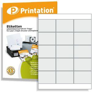 Printation Universal Disketten o. Buch Etiketten 70 x 50,8 mm selbstklebend blanko weiß - 1500 Stk 70x50,8 auf 100 A4 Bogen 3x5 bedruckbar - 3669 4278