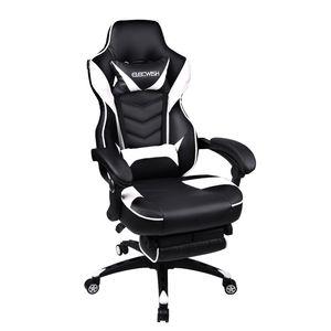 Gaming Stuhl Computerstuhl  Bürostuhl  Racing Stuhl Ergonomisches Sportsitz Höhenverstellbarer Drehstuhl Mit Fußstütze (Schwarz& Weiß)
