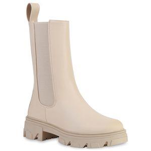 VAN HILL Damen Plateaustiefel Stiefel Plateau Vorne Profil-Sohle Schuhe 836491, Farbe: Beige, Größe: 38
