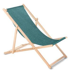 Liegestuhl aus Buchholz ohne Armlehne Sonnenliege Gartenliege 110kg Türkis melange