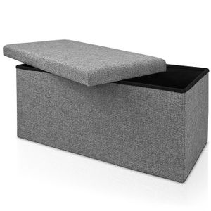 Sitzhocker Sitzbank Truhenbank Sitzwürfel Ottomane Sitztruhe Spielzeugkiste Bank, Variante:L - Grau