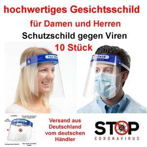 10 Stück Gesichtsschutz Visier Transparenter Schutzschild Gesicht, Gesichtsschild aus Kunststoff, Gesichtsschutzmaske Face shield, 32x22cm