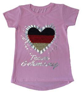 THREE OAKS Rundhals-Shirt funkelndes Kinder Pailletten T-Shirt Rosa, Größe:104