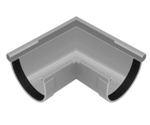 Regenrinnen Komponenten | Dachflächen > 100m² | PVC in 4 Farben | RainWay L, Farben:Grau, Typ:Eckstück Außen 90°