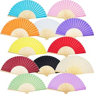 Favson 12er Pack Handfächer Seide Bambus Faltfächer Handfächer für kirchliches Hochzeitsgeschenk, Party