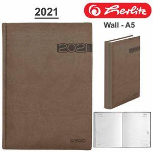 Herlitz Buchkalender Wall A5, Jahr / Farbe:2021 / braun